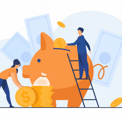 Saving money financial concept. Cartoon people inserting cash into piggy bank, getting and investing income. Vector illustration for fund, investment, deposit topics