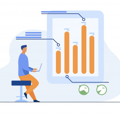 Man with laptop analyzing infographics. Diagram, bar chart, report flat vector illustration. Analysis, marketing, project manager concept for banner, website design or landing web page